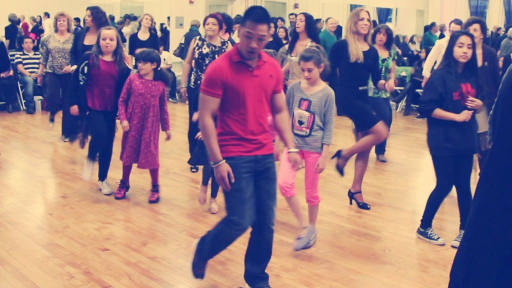 Line Dancing at the Spencer Nyemchek Dancesport Ballroom Dance Grand Opening
