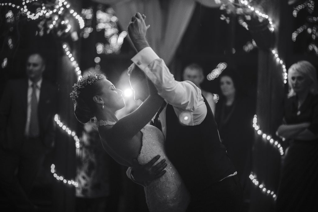 wedding dance of beautiful young newlywed couple